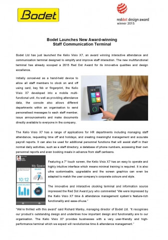 Bodet Launches New Award-winning Staff Communication Terminal Page 1